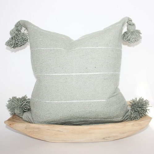 Grey Stripe Moroccan Pom Pom Pillow