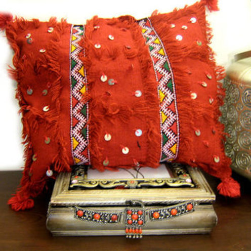 Moroccan Wedding Blanket Pillow Handira Orange