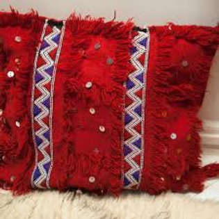Moroccan Wedding Blanket Pillow Handira Red
