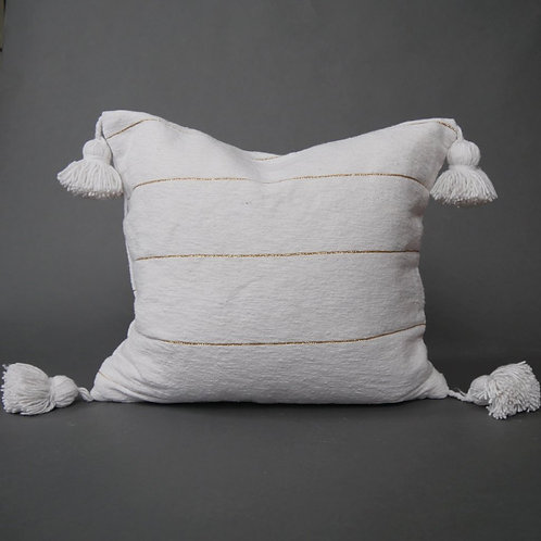 White Stripe Moroccan Pom Pom Pillow