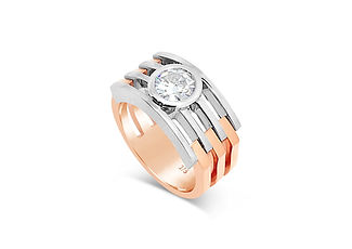 Orion Joel Custom Jewellery - Rose and white gold ring created using the diamond from an old engagement ring.
