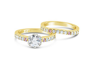 Orion Joel Custom Jewellery - Custom made 18 carat gold engagement ring and wedding ring set