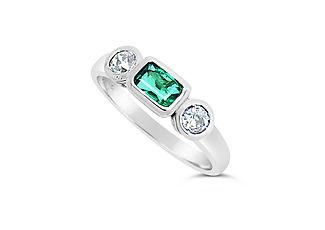 Orion Joel Custom Jewellery - Emerald and diamond engagement ring