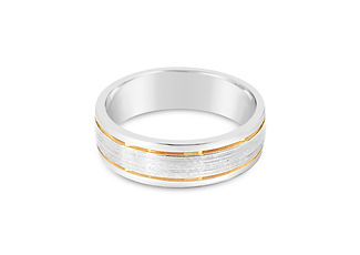 Orion Joel Custom Jewellery - Mens 2 tone gold wedding ring- white and yellow gold