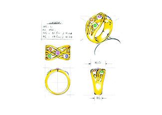 Orion Joel Custom Jewellery - Gold gemstone dress ring