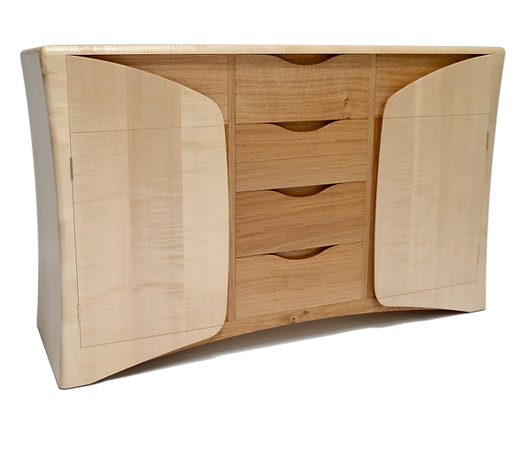 Oak Within Sideboard by Chris Wiseman of Wiseman Woodworks. Ripple Sycamore and Oak. Fine bespoke woodwork furniture. Award winning