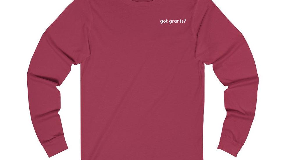 Got Grants? Unisex Long Sleeve Performance V-neck Tee