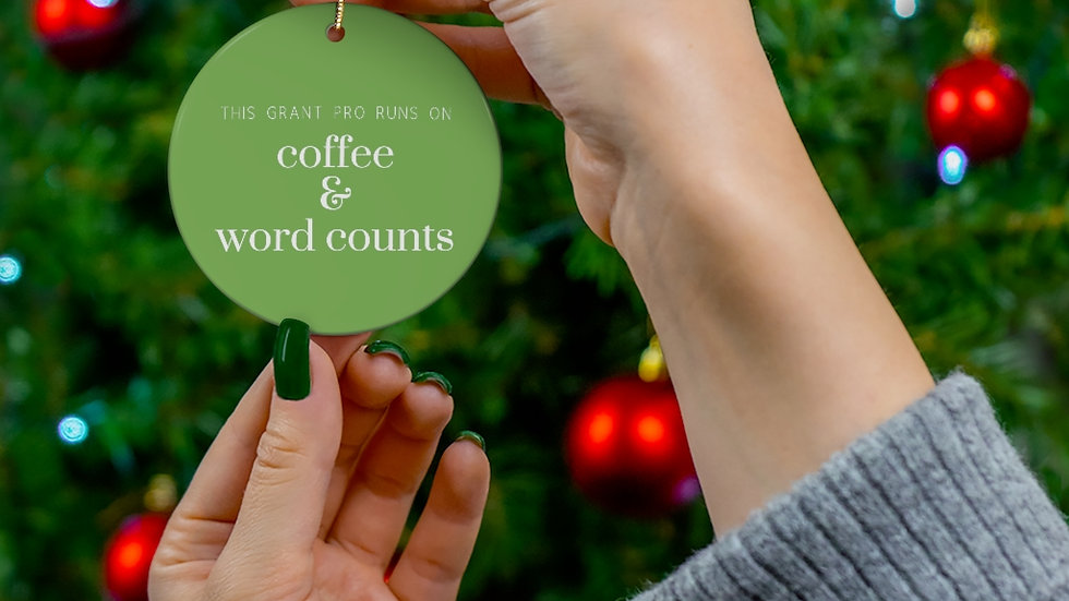 Coffee and Word Counts Ceramic Ornament