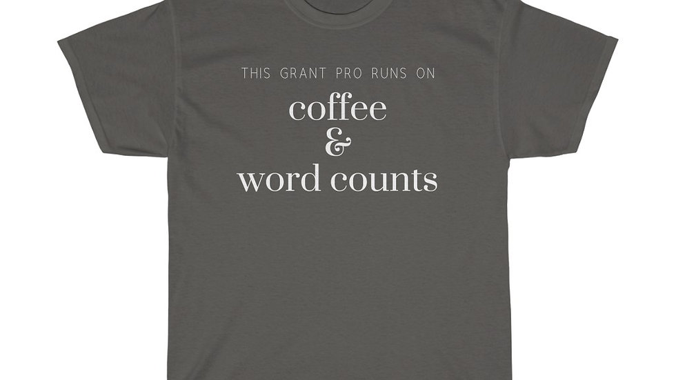 Coffee and Word Counts Unisex Heavy Cotton Tee