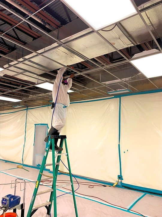 Removal of Asbesos Containing Ceiling Tiles from School