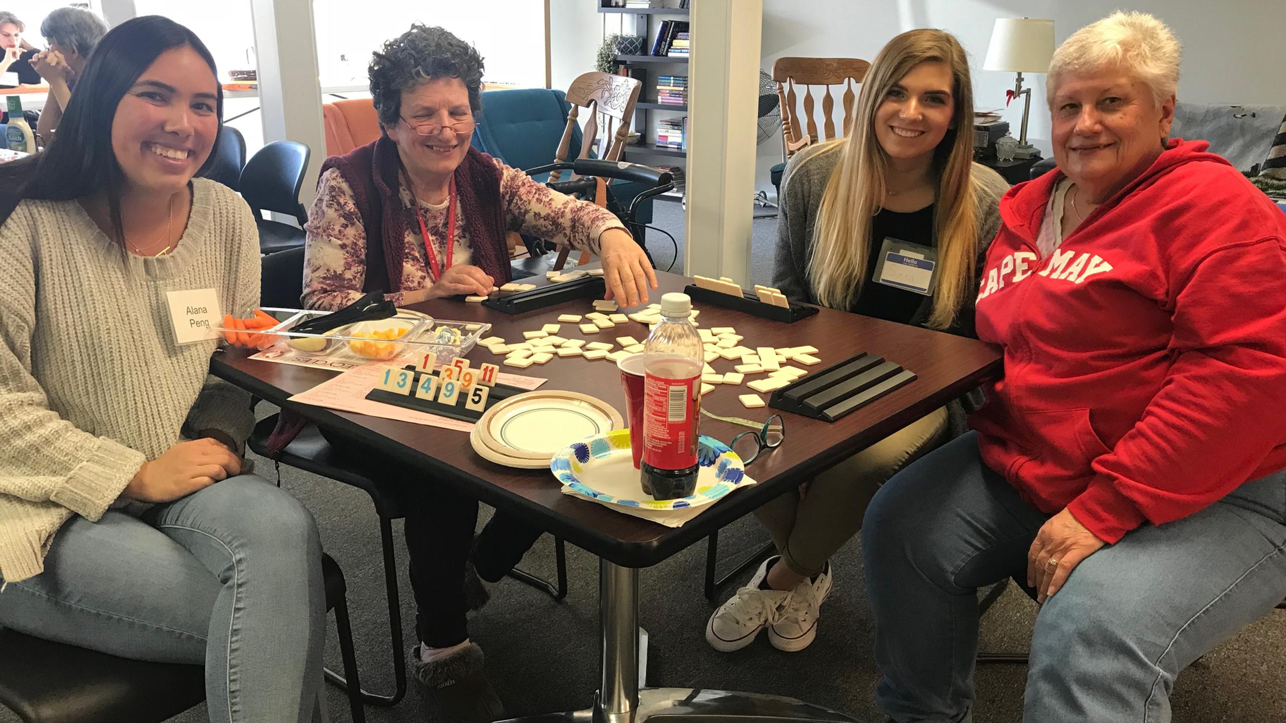 Lab members Alana Peng and Sara Bickhart learning to play Rummikub