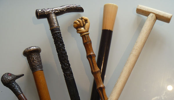 Buyer of antique walking sticks / canes. Silver Ivory Carved Malacca Bone