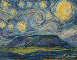 Jan willem Boer starry night over house mountain-pastels