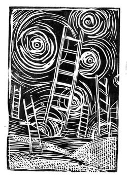 Ladder-to-Van-Gogh-LinoPrint-5_x7_