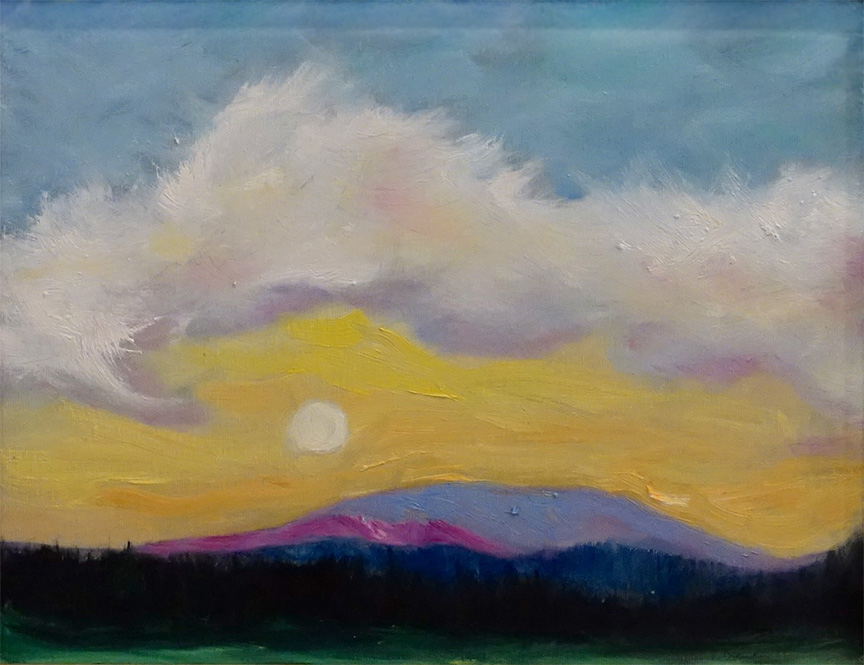 Dorothy Blackwell Moon over house mountain-oils