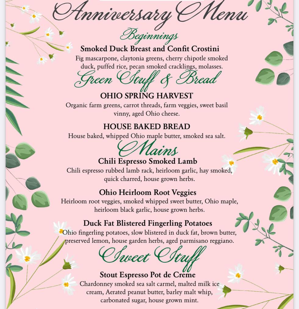 Private Anniversary Dinner Menu