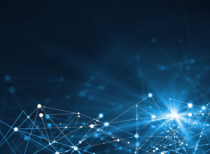 Abstract connected dots on bright blue background. Technology concept.jpg