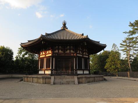 A three-storied pagoda and Hokuen-do hall of Kofuku-ji Buddhist Temple in Nara.