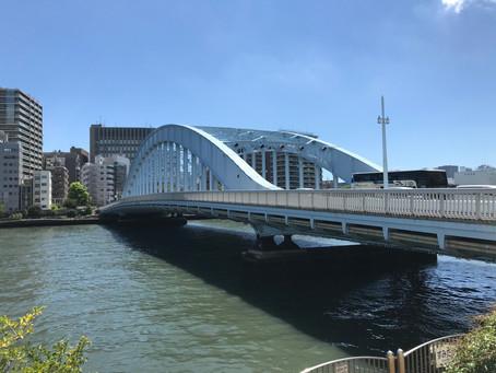 "Original ""Eitai-bashi"" bridge in Tokyo was built in 1698, 100 meters upstream from present site."