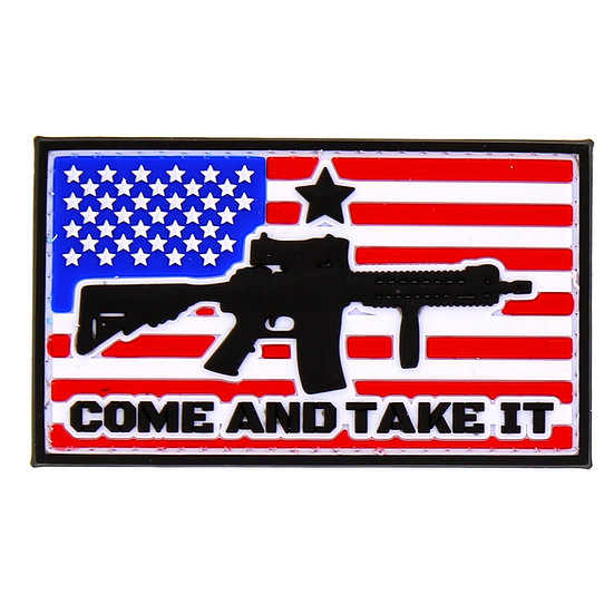 US Flag Come And Take It Forward Rubber Morale Patch