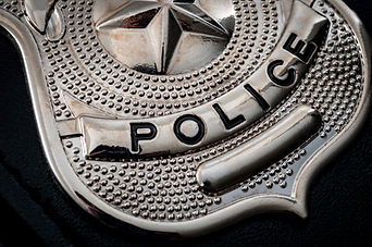 Cops and police officer badge with macro