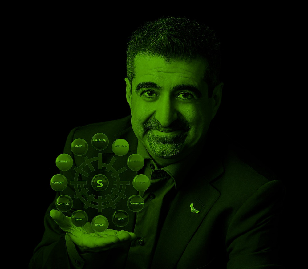 Dr Constantinos Pantidos with wheel of motives
