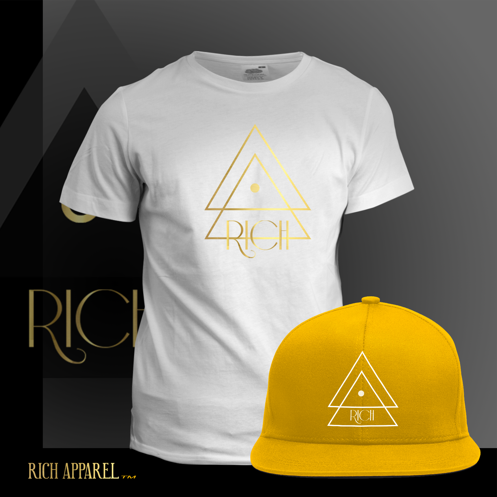 WHITE T GOld Hat GoldLine logo