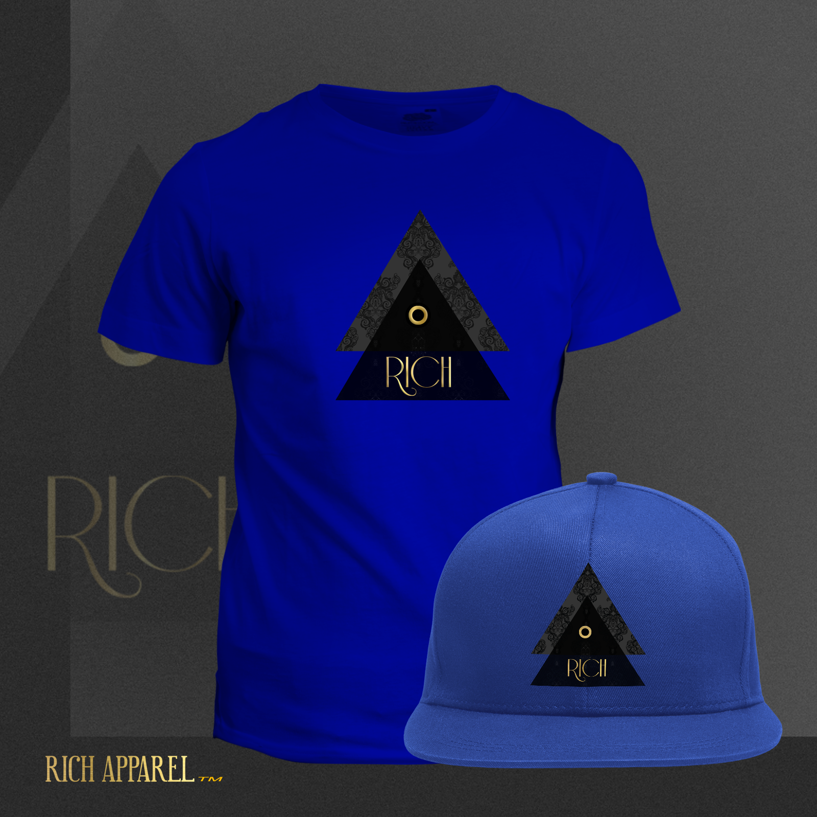 RICH EL BLUE T and Hat GoldSolid logo