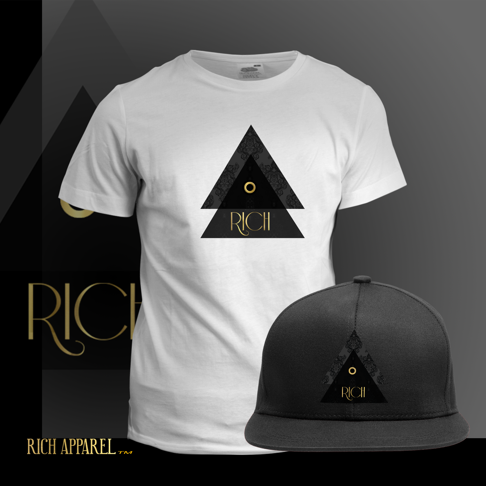 RICH EL WHITE T  BLACK HAT comboGoldSolid logo