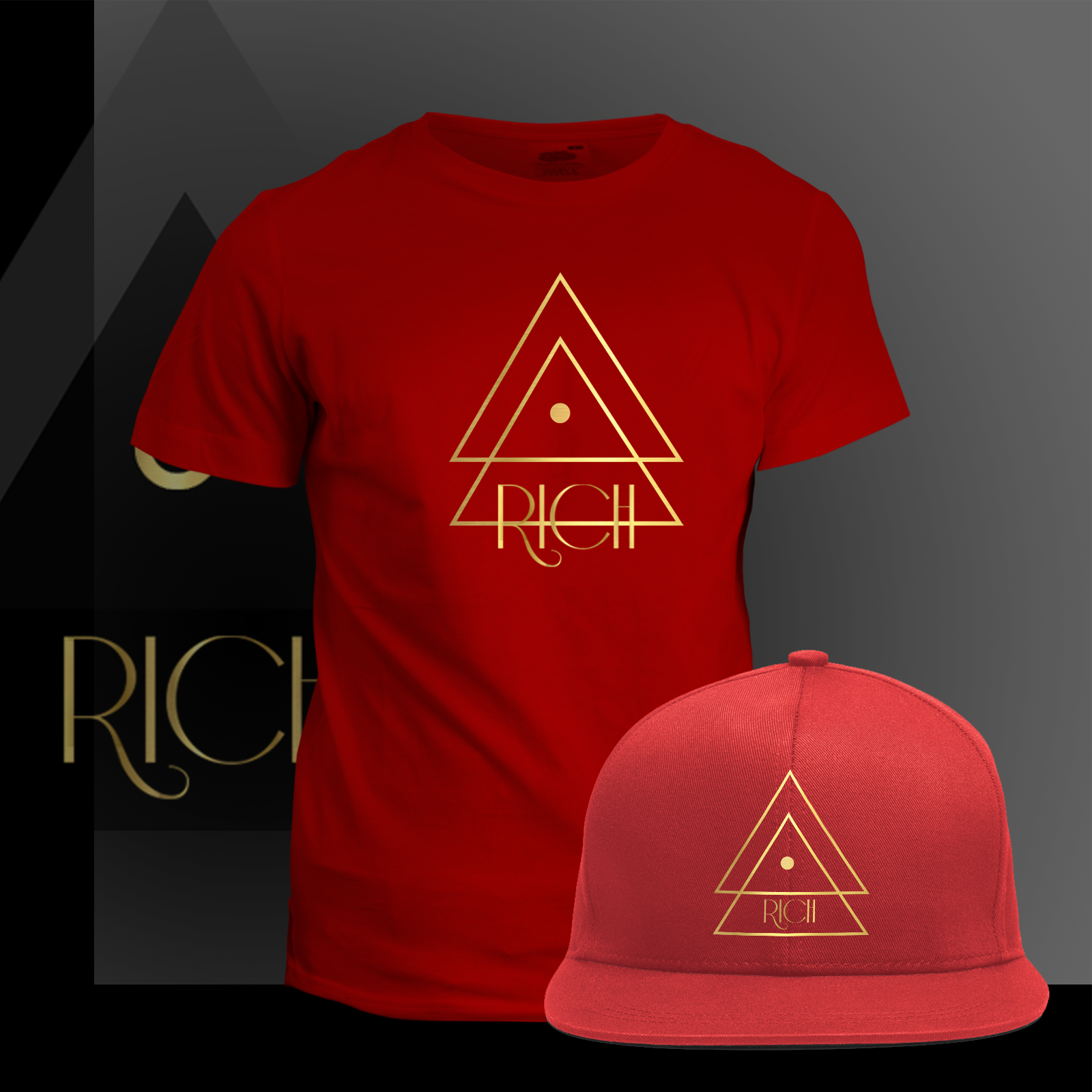 RED  T and Hat GoldLine logo
