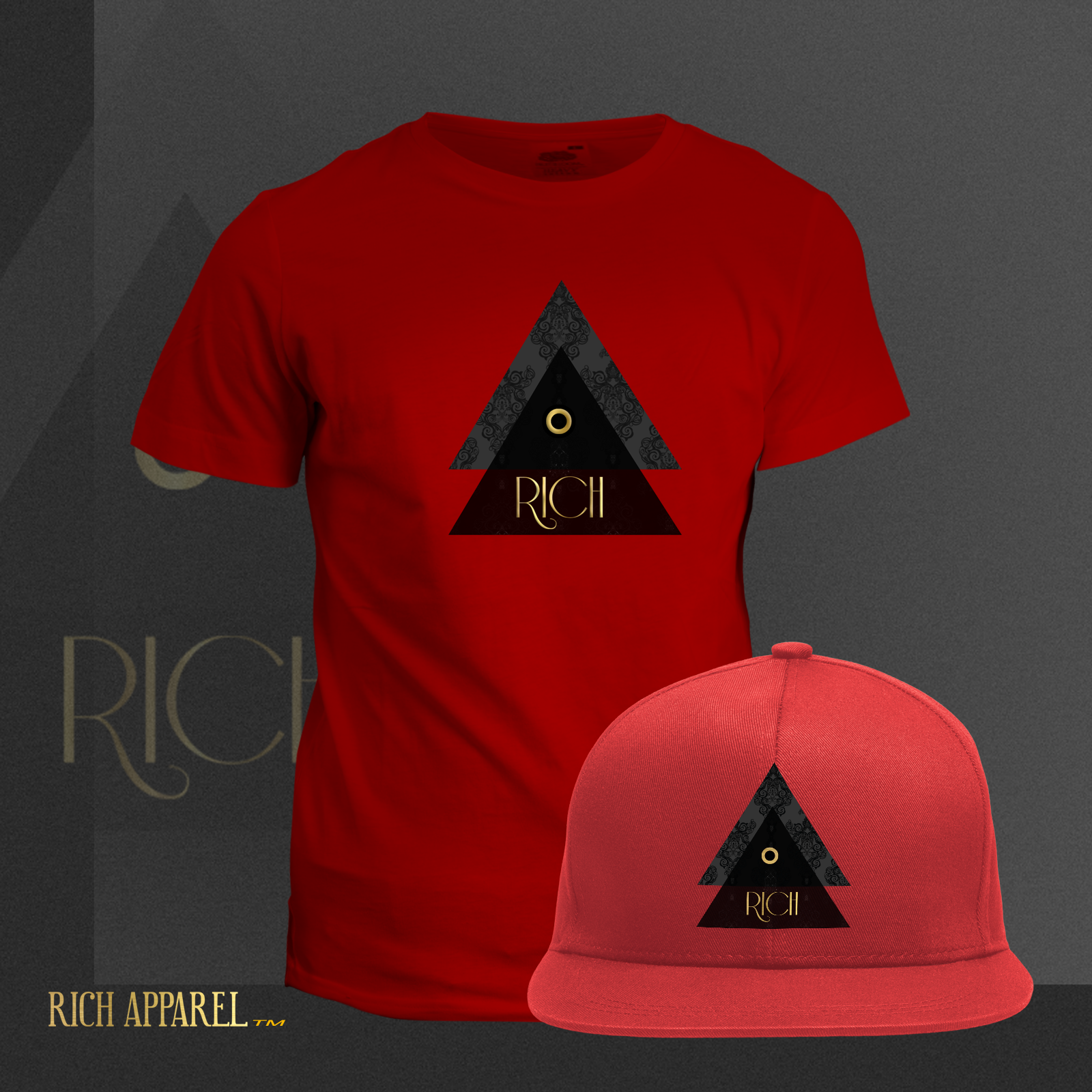 RICH EL RED T and Hat GoldSolid logo