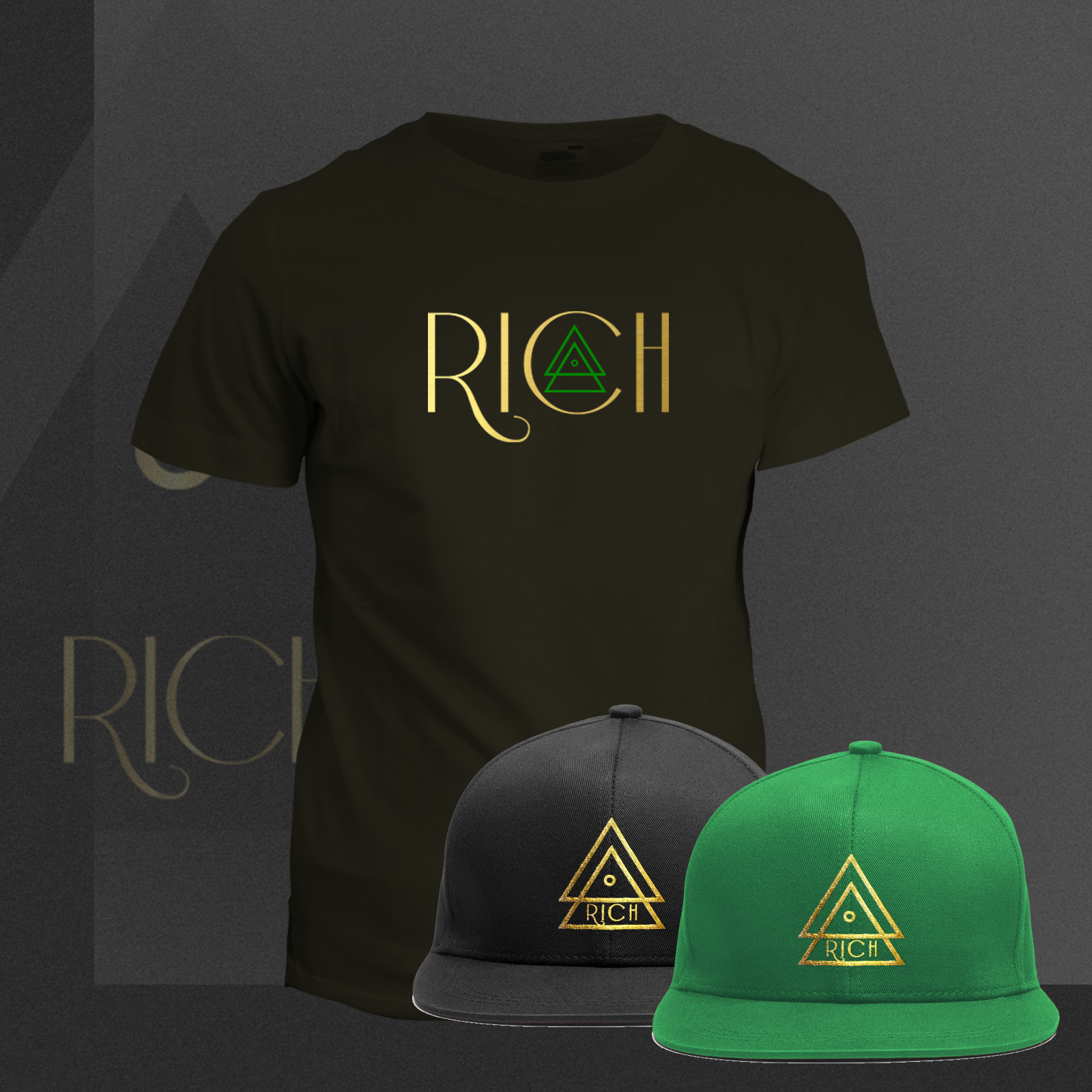 RICH BLACK T_Rich_GREEN_COMBO