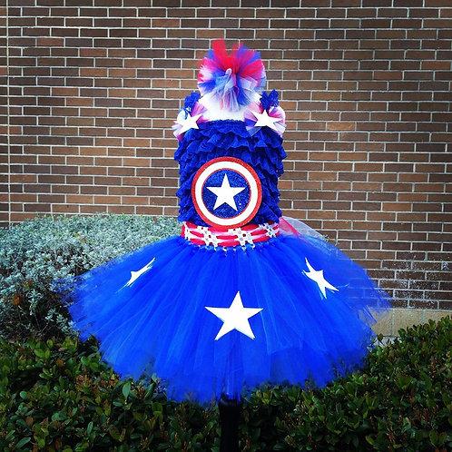 Capt AmericaGirl Romper Set
