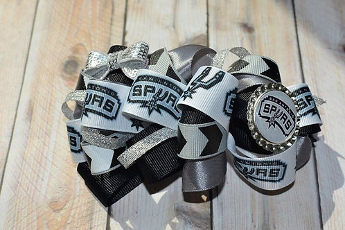 Silver & Black Spur Sports Team Jumbo Bow
