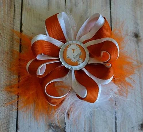 Orange & White Sports Team Bow