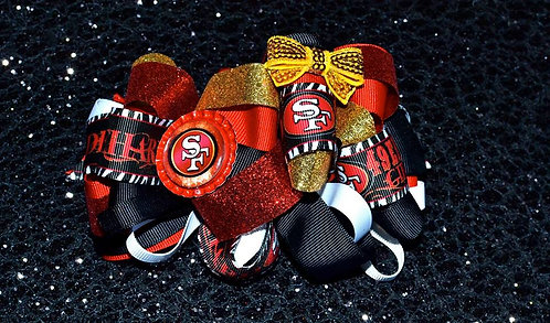 Red Black & Gold Niners Big Bow