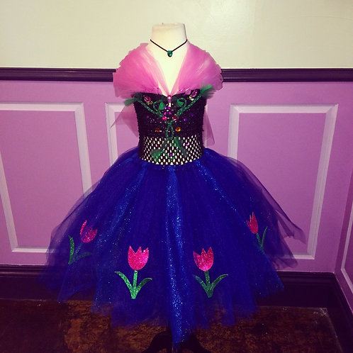 Princess Anna's Majestic Blue Tutu Dress