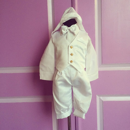 5 Piece White Christening Knickers Suit