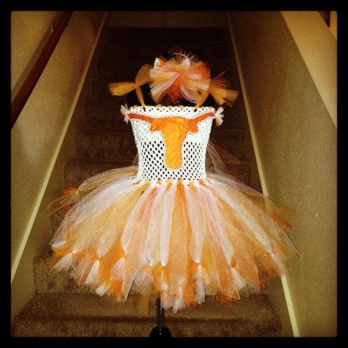 Orange and White Texans Tutu Dress