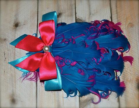 Turquoise & Fucshia Feather Bow