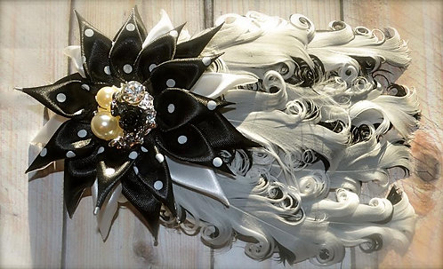 Black & White Jeweled Flower Feather