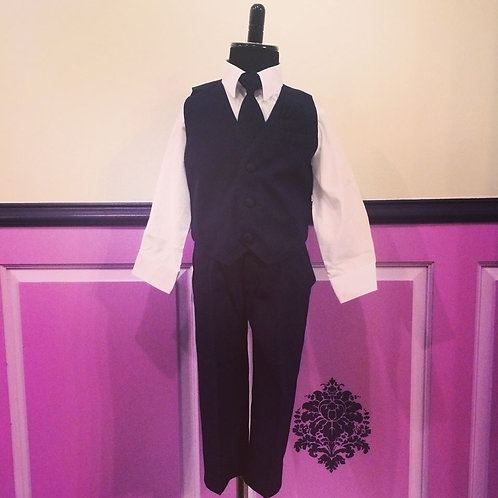 4 Piece Navy Vested Suit