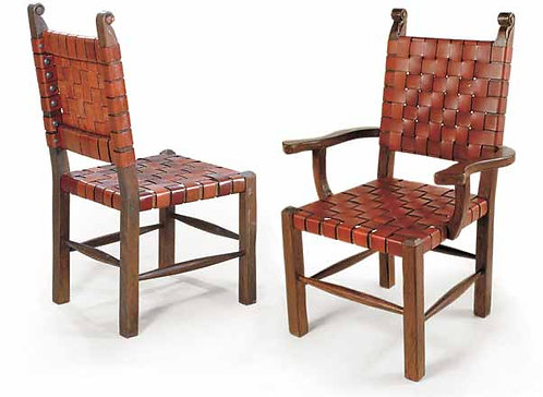 Taurino Leather Strap Side and Arm Chair