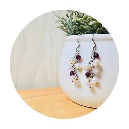 E035 石 榴 石 拼 粉 紅 晶 珍 珠 耳 環 (華姐)
