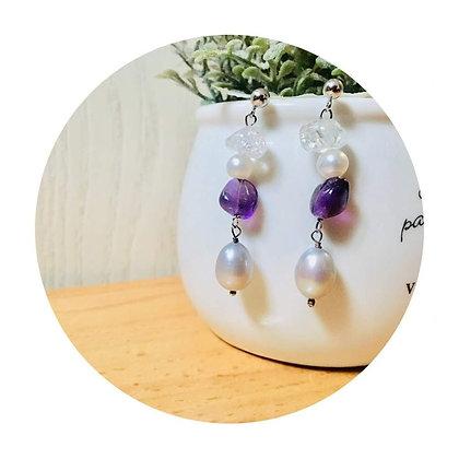 E039 紫 水 晶 拼 灰 白 珠 耳 環 (華姐)