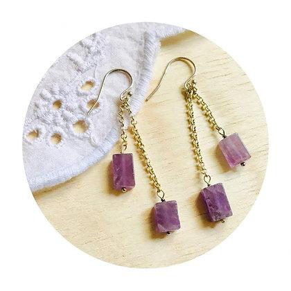 E024 方 形 紫 水 晶 耳 環 (華姐)