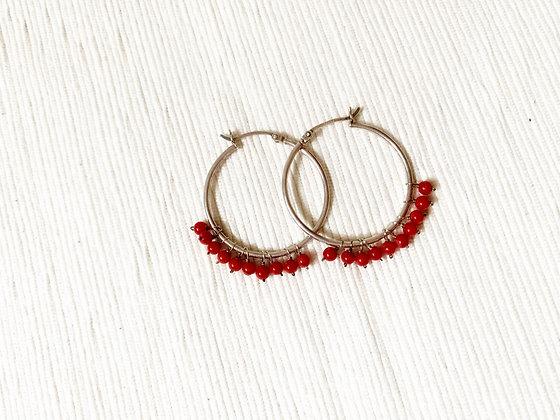 E020  紅 珊 石 耳 環 (華姐)