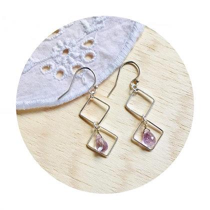 E018 水 滴 形 紫 水 晶 耳 環 (華姐)