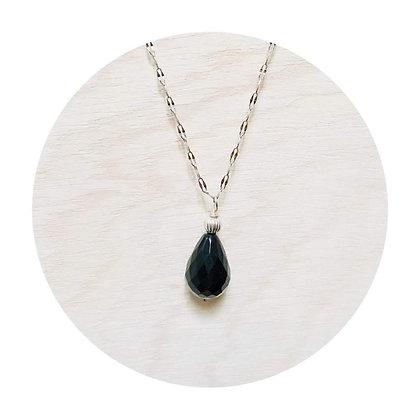 N006 黑 瑪 瑙 銀 波 頸 鏈 (華姐)