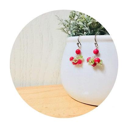 E041 紅 珊 瑚 拼 橄 欖 石 耳 環 (華姐)